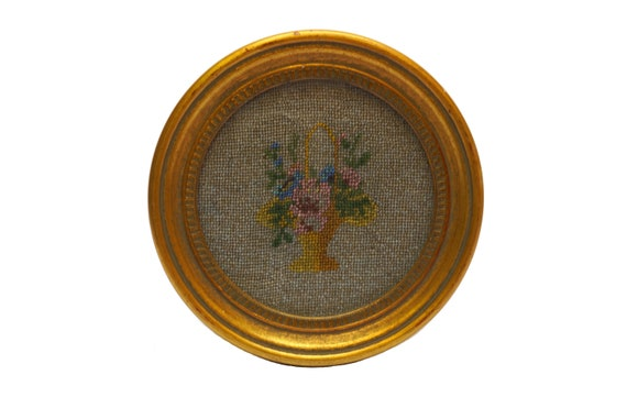 French Antique Beadwork Miniature, Framed Needlework Bead Embroidery Flower Art