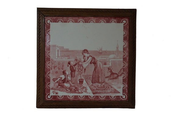 Antique Transferware Tile Trivet with Orientalist Art Scene and Carved Wood Stand, French Faience Pot Rest