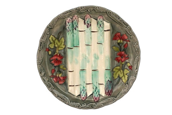 Antique French Majolica Asparagus Plate with Flowers, Longchamp Ceramic