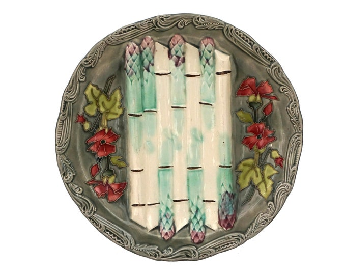 French Majolica Asparagus Plate with Flowers, Antique Longchamp Ceramic