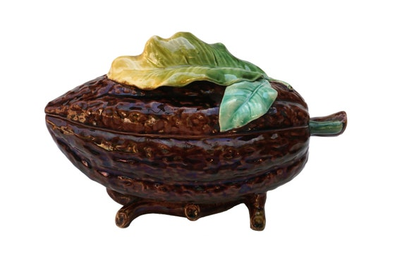 Antique Majolica Coco Bean Box, French Ceramic Chocolate and Candy Dish