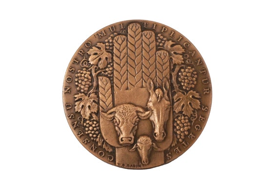French Bronze Medal with Horse, Bull and Grape Vines, Vintage Collectible Banking Souvenir