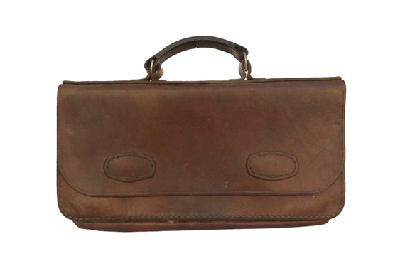 Vintage Leather Portfolio Briefcase, French Attache Case with Top Handle