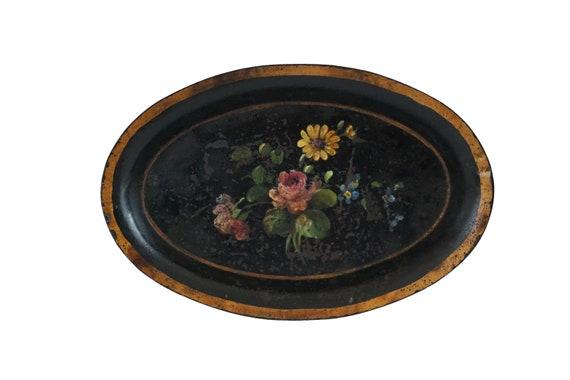 Antique French Tole Flower Coin Dish, Hand Painted Toleware Key and Ring Tray