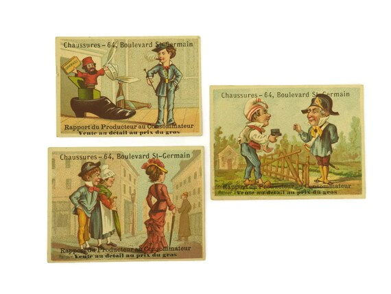 Antique French Advertising Trading Cards. L. Foussés Victorian Shoe Trade Cards.