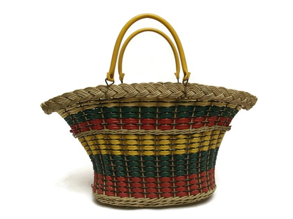 Mid Century French Market Basket, Vintage Wicker and Plastic Coated Shopping Bag