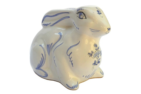 Ceramic Bunny Rabbit Money Box, French Moustiers Faience Animal Figurine Coin Safe