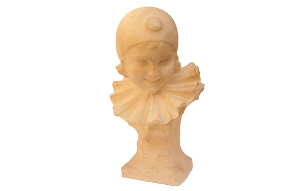 Antique Columbine Bust Sculpture by Guerrieri, Alabaster Head Statue, Pierrot Girl Portrait Stone Carving