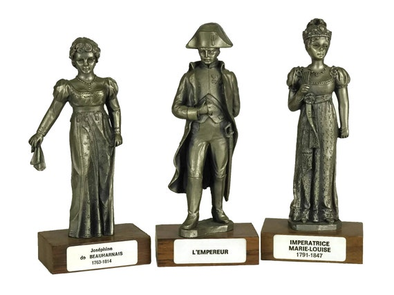 French Vintage Pewter Napoleon Bonaparte, Josephine & Empress Marie-Louise Figurines