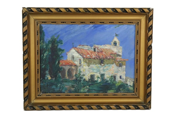 French Provence Church Oil Painting, Original Signed Wall Art