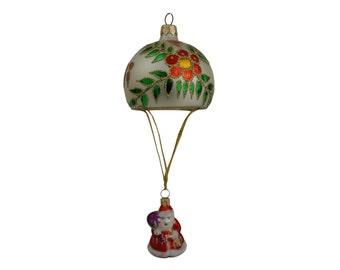 Vintage Santa Claus with Parachute Christmas Tree Ornament, Large Blown Glass Bauble