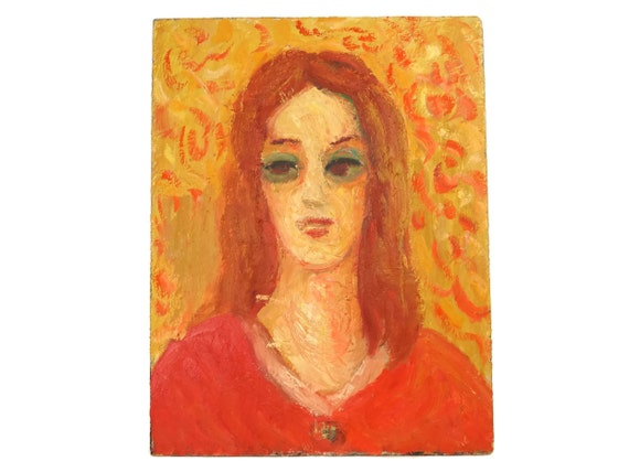 1960's Woman Portrait Oil Painting