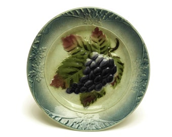 Antique Majolica Grape and Vine Leaf Fruit Plate. French Country Kitchen Wall Plate.