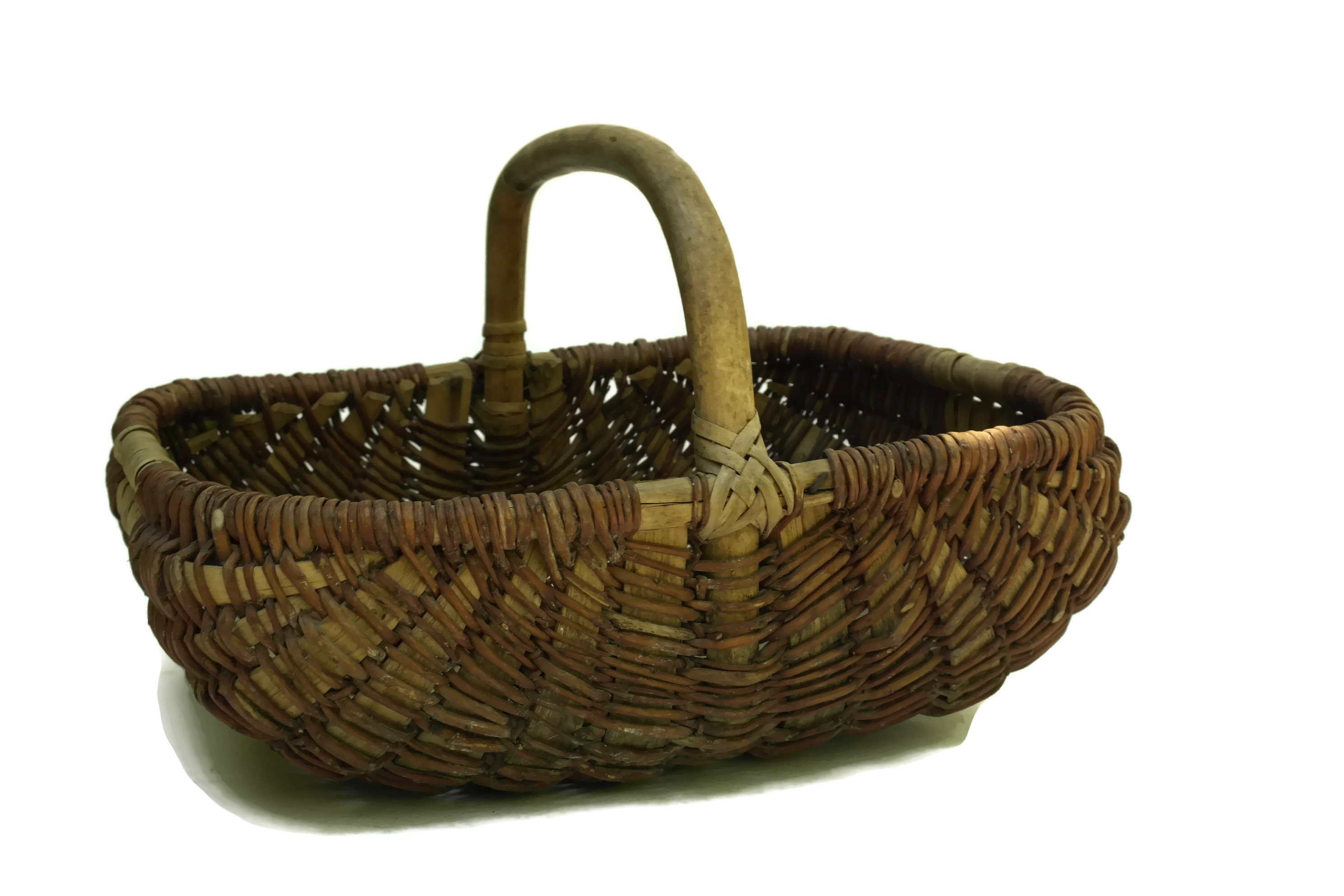 French Vintage Hand Woven Basket Rustic Country Kitchen Decor Gardening Gift