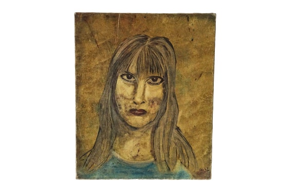 1960's Expressionist Woman Portrait Painting, French Mid Century Lady Original Art