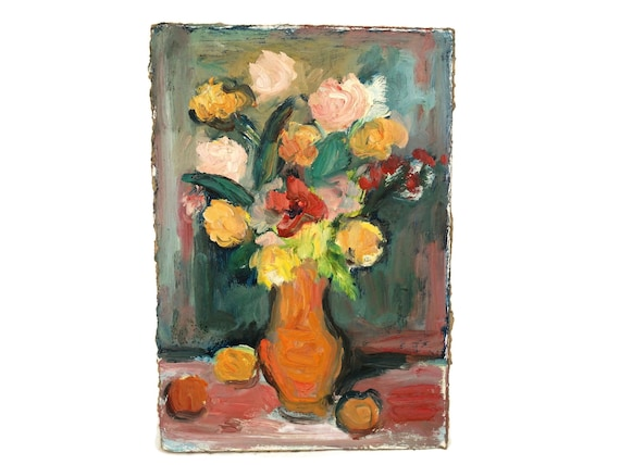 Roses Still Life Oil Painting, French Flower Bouquet Vase Art, Pink and Green Original Art