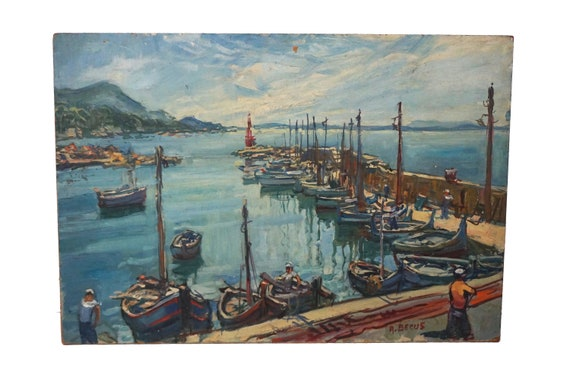 Sea Port and Fishing Boat Painting, Original French Mediterranean Coastal Art