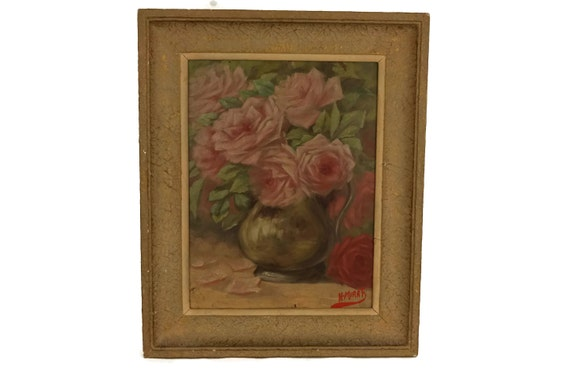 Pink Rose Flower Still Life Painting, Vintage French Flowers in Vase Original Framed Art, Romantic Floral Home Decor & Gifts
