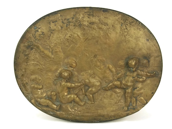 Antique Bronze Plaque with Infant Faun and Putti. Mythological Art.