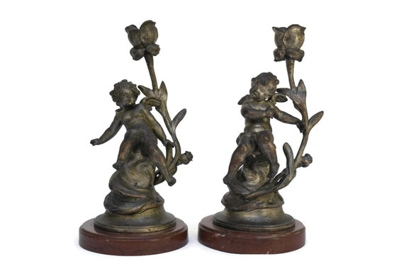 Sylvain Kinsburger Antique Cherub Candlestick Holders