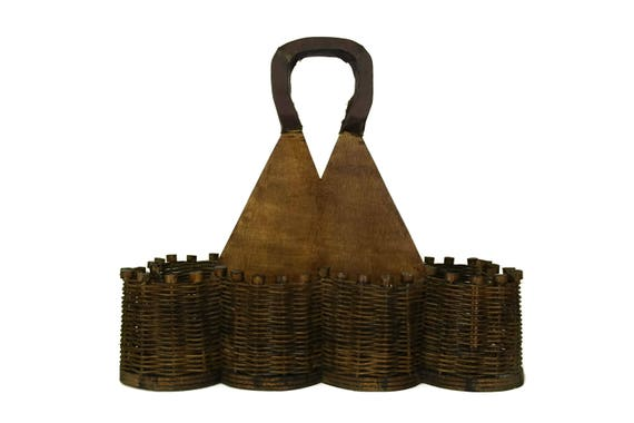 Rustic Bottle Holder Carrier. Vintage Beer Caddy. Wood and Wicker Storage Basket. French Wine Cellar and Bar Decor Gift.