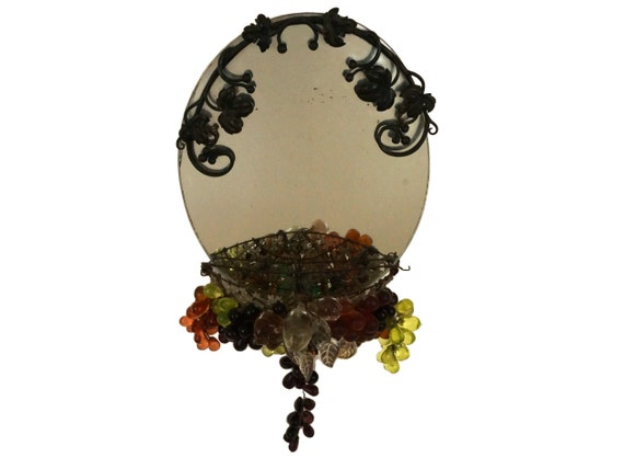 Murano Glass Wall Mirror with Wrought Iron Flower Frame, Vintage Grape Cluster and Fruit Basket Wall Hanging Decor