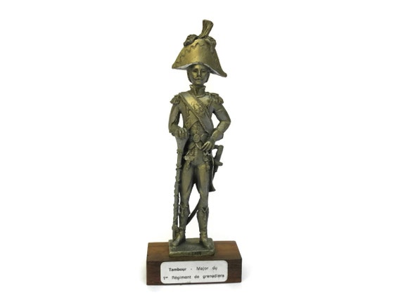 French Vintage Pewter Figurine. Drum Major Orchestra 1st Guards Regiment. Grenadier 1805 Sculpture. French Military Decor.