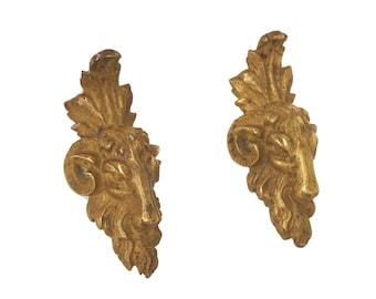 Antique Bronze Ram Head Figure Set, 19th Century French Gothic Furniture Ornament