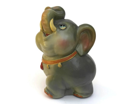 Vintage Baby Elephant Coin Bank, Ceramic Money Box, Nursery Decor, Collectible Dumbo Figurine
