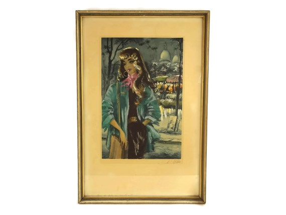 1950s Woman Portrait Etching Print, Vintage French Fashion, Framed Art with Montmartre