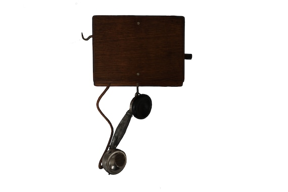 French Antique Wall Mount Crank Wood Cabinet Telephone