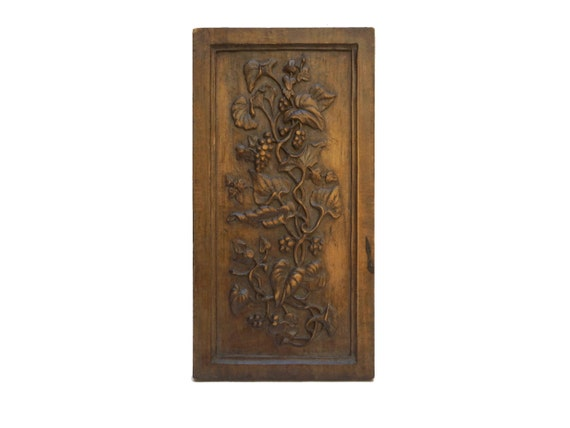 Carved Wood Panel with Berries, French Antique Wooden Wall Hanging Art Plaque