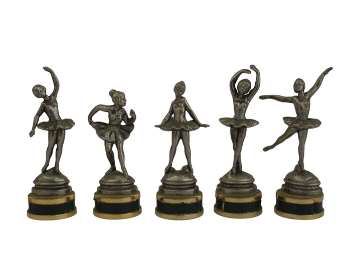 Vintage Ballet Dancer Figurine Place Card Holders, Set of 5 Toffano Italy Metal Menu Stands