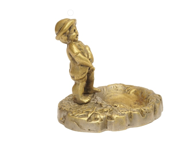French Antique Peeing Boy Figurine Pin Dish, Manneken Pis Statuette with Frogs