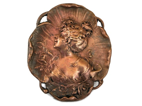 Art Nouveau Copper Cameo Brooch with Belle Epoque Lady Portrait, French Jewelry Pin