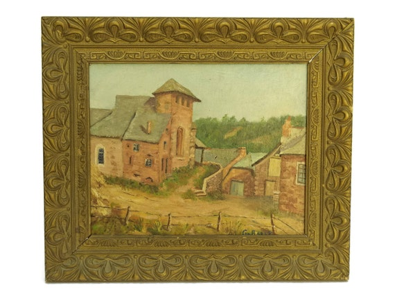 French Farmhouse Painting of Mousset Farm in Aveyron by G Baret. Vintage French Painting.