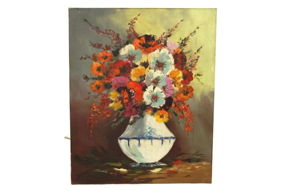 Flowers Still Life Painting on Canvas, Field Flowers in Vase Oil Painting, French Vintage Original Art
