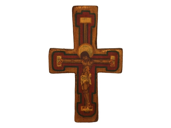 Vintage Orthodox Icon Wooden Crucifix by Waldemar Wnuczak, Religious Art Wall Hanging Cross