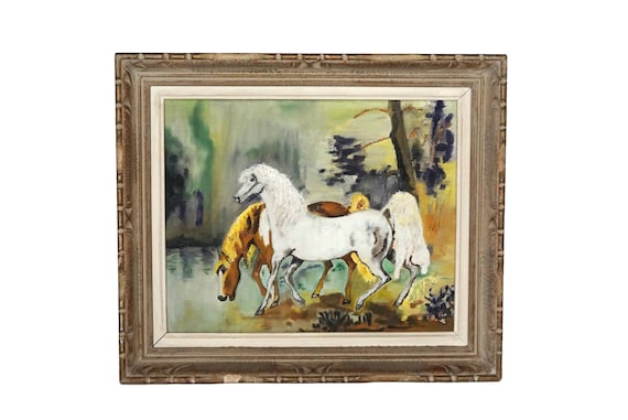 Vintage Horse Portrait Painting, French Mid Century Equestrian Art and Wall Decor