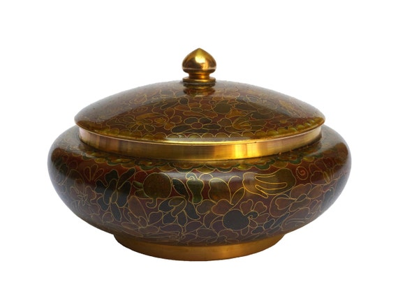 Chinese Cloisonne Bowl with Lid, Enamel and Brass Asian Bowl