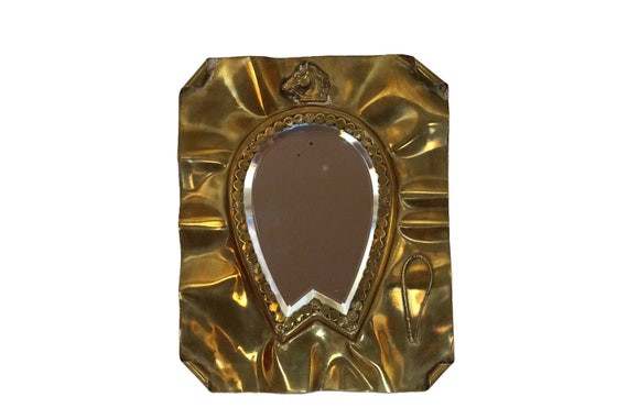 French Antique Brass Horse Mirror with Bevelled Glass, Equestrian Home Decor