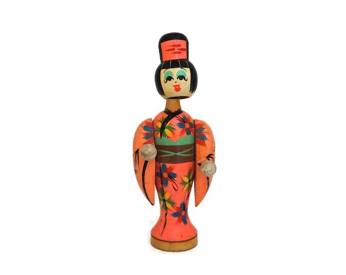 Bobble Head Kokeshi Geisha Doll, Hand Painted Japanese Folk Art Wooden Figurine