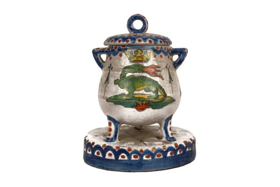 Antique French Faience Mustard Pot, Condiment Jar by Henri Chaumeil