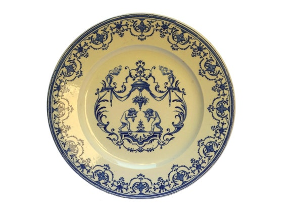 Antique French Putti Wall Plate by Vieillard Bordeaux, Moustiers Blue and White China Hanging Plate