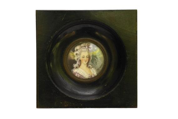 Marie Antoinette Miniature Portrait Painting, 19th Century French Gouache Signed Deadot