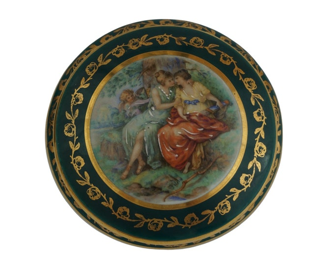 Goddess Diana and Callisto Jewelry Box, Limoges Porcelain Pin Dish, LGBT Gift