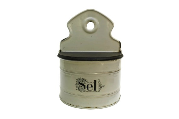 Antique French Enamel Salt Box, Rustic Canister