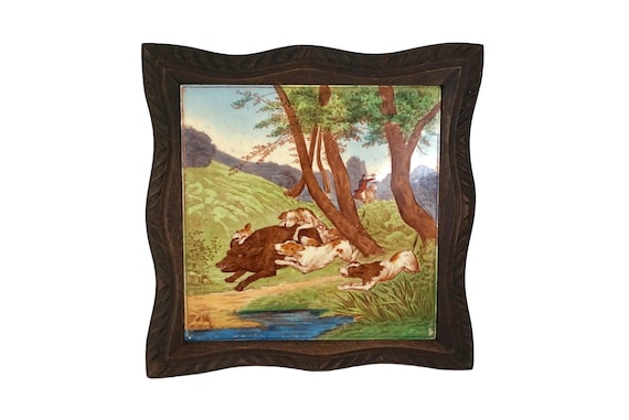 Antique Ceramic Tile Trivet with Hunting Scene and Carved Wood Stand, French Pot Rest