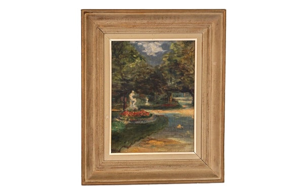 Luxembourg Garden Impressionist Oil Painting, Antique French Romantic Floral Signed Art