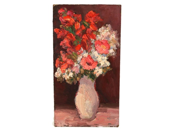 Roses Still Life Oil Painting, Tall and Narrow French Flower Bouquet Vase Art, Red and Pink Original Art
